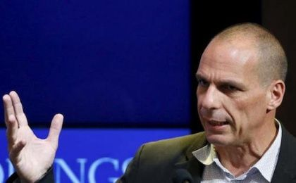 Former Greek Finance Minister Yanis Varoufakis speaks at the Brookings Institution in Washington April 16, 2015.
