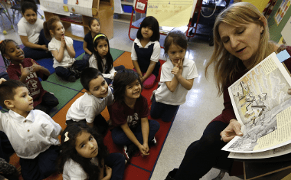 Teacher addresses her first grade class at Walsh Elementary School in Chicago, Illinois, March 1, 2013.