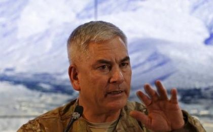 U.S. Army General John Campbell, the commander of international and U.S. forces in Afghanistan, speaks during a news conference at Resolute Support headquarters in Kabul, Afghanistan February 13, 2016.