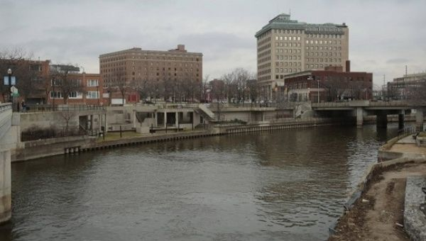 The Flint River flows through downtown in Flint, Michigan, Dec. 16, 2015.