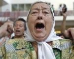 Hebe de Bonafini, leader of Argentina's Mothers of the Plaza de Mayo, protests at the site of a secret military dictatorship jail in Buenos Aires in 2008.