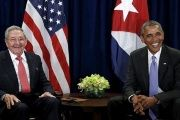 Cuban President Raul Castro and U.S. President Barack Obama smile during a bilateral meeting at U.N. headquarters in New York, Sept. 29, 2015.