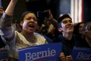 Supporters cheer at a campaign rally for Bernie Sanders in Nevada Feb. 19, 2016.