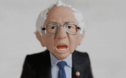 A Bernie Sanders action figure prototype is seen in a photo illustration taken in the Brooklyn borough of New York Feb. 25, 2016.