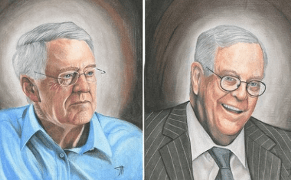 David and Charles Koch, heads of Koch Industries, drawn by prisoner Joseph Acker. All sales from a book associated with the art project will be donated to Bernie Sanders' campaign.