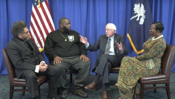 From left, Cornel West, Killer Mike, Bernie Sanders and Nina Turner discuss Martin Luther King Jr.'s legacy.