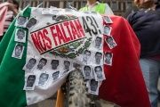 Demonstrators mark 17 months since the disappearance of the 43 Ayotzinapa students, Feb. 26, 2016.