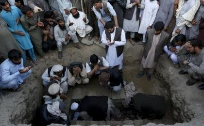 A funeral in Asadabad, capital of Kunar province, Afghanistan, after a suicide attack on Feb. 27, 2016.