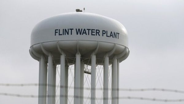 The top of the Flint Water Plant tower is seen in Flint, Michigan Feb. 7, 2016.