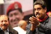 President Nicolas Maduro with President Daniel Ortega of Nicaragua at homage to Chavez.