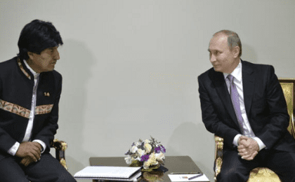 Russia's President Vladimir Putin (R) meets with Bolivia's President Evo Morales on the sidelines of the Gas Exporting Countries Forum (GECF) in Tehran, Iran, Nov. 23, 2015.