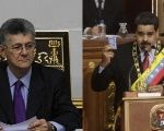 Venezuelan National Assembly President Henry Ramos Allup (L) says he seeks the ouster of President Nicolas Maduro (R) before the end of his term.
