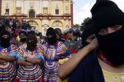 Indigenous Zapatista activists protest in Chiapas.
