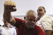 Former Brazilian President Luiz Inacio Lula da Silva is greeted by supporters at the bank workers' trade union site in Sao Paulo, Brazil, March 4, 2016.