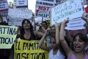 Demonstrators protest mining contamination in Argentina.