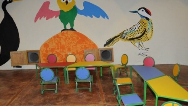 A Classroom In The Sustainable School Made Entirely Of Recycled Materials