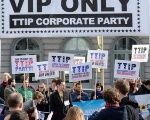 Protesters demonstrate in Brussels against the TTIP.
