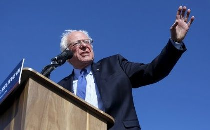 Democratic U.S. presidential candidate Bernie Sanders addresses a crowd of supporters at a campaign rally in Salt Lake City, Utah March 18, 2016.
