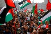 Supporters and members of the Palestine community attend a rally for peace in Gaza, in Santiago, August 9, 2014.