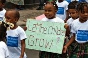Children march against violence as part of the