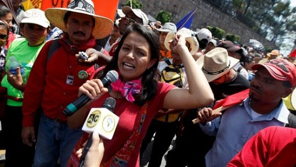 Another daughter of Berta Caceres, Olivia Zuñiga, speaks during a protest to demand justice for her mother in Tegucigalpa, Honduras, March 17, 2016.