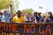 Traditional land owners protest fracking in Australia's Gulf of Carpentaria region.