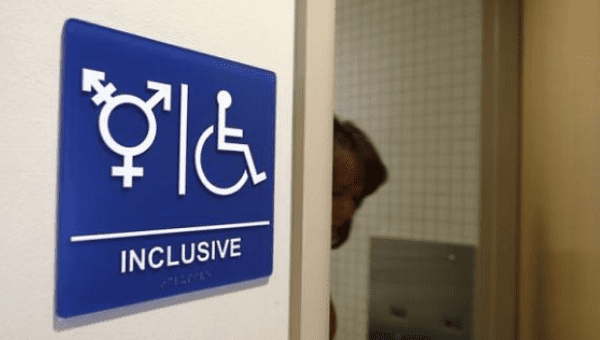 A gender-neutral bathroom is seen at the University of California, Irvine in Irvine