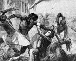 Scenes from the Stono Rebellion, a slave rebellion that began in Sept. 1739, in the British colony of South Carolina.