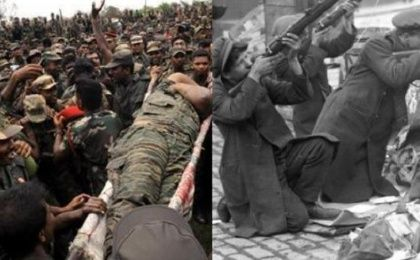 The body of Liberation Tigers of Tamil Eelam (LTTE) leader Vellupillai Prabhakaran is carried away (Left) while Republicans man the barricades during the Easter Rising (R)