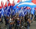 Youth march in Havana, Cuba, for May Day.