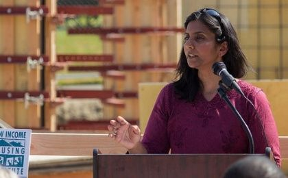 Kshama Sawant speaks at the groundbreaking ceremony for a low-income housing project in Seattle, Washington, on June 14, 2015.