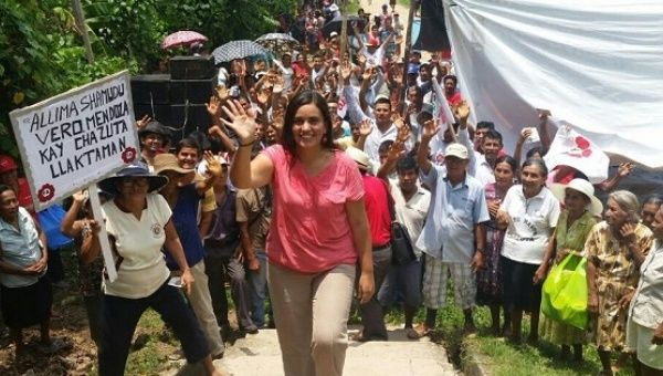 Peruvian presidential hopeful Veronika Mendoza visits the community of Chazuta, San Martin, during her campaign.