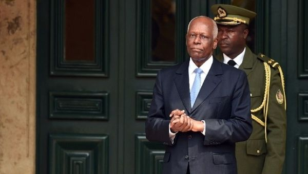 Angola President Jose Eduardo Dos Santos waiting for the arrival of his French counterpart at the presidential palace on July 3, 2015 in Luanda.