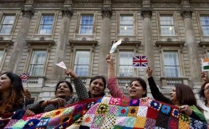 Indian students protesting deportation in the UK.