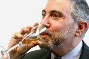 New York Times columnist Paul Krugman drinks the tears of an uninsured Bernie Sanders supporter.