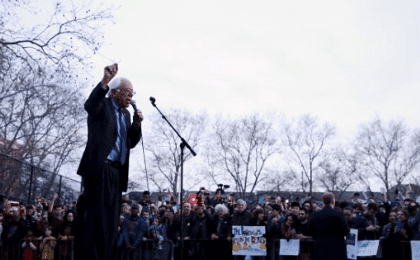 U.S. Democratic presidential candidate Bernie Sanders addresses attendees during a campaign rally at Saint Mary's Park in Bronx, New York March 31, 2016.