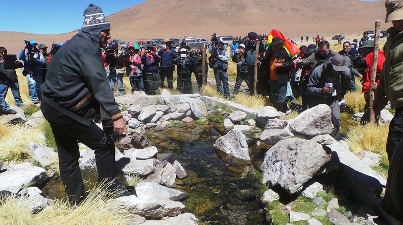 President Evo Morales inspects the waters of Silala near the border.