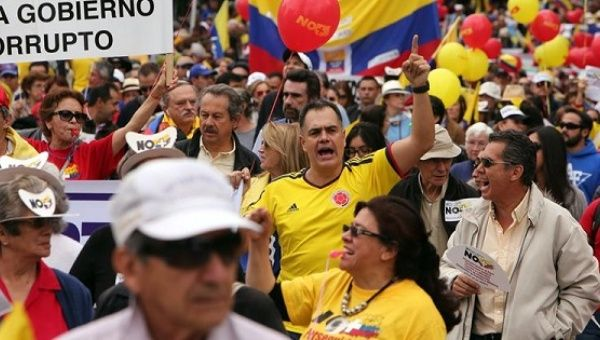 Colombians march against peace with the FARC in Bogota on April, 2, 2016.