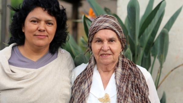 Berta Caceres with her mother, Austra Bertha Flores Lopez, together at their home in La Esperanza, Intibucá, Honduras.