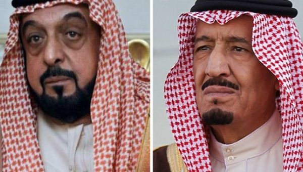 Saudi King Salman bin Saud and the United Arab Emirates President Khalifa bin Zayed