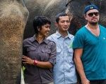 Leonardo DiCaprio poses with Sumatran elephants during his visit to Indonesia.