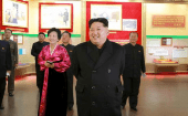 orth Korean leader Kim Jong Un (2nd R) smiles during a visit to the newly built Youth Movement Museum in this undated photo released by North Korea's Korean Central News Agency (KCNA) in Pyongyang Jan. 20, 2015.