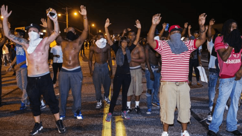Protests in Ferguson against police brutality.