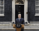 Britain's Prime Minister David Cameron speaks outside 10 Downing Street in London, Britain Feb. 20, 2016.