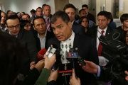 President Rafael Correa, addressing the media in New York, repeated his call for all of the Panama Papers to be released, April 12, 2016.