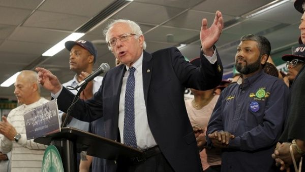 U.S. Senator Bernie Sanders speaks after being endorsed by the Transportation Workers Union in Brooklyn, New York, April 13, 2016.