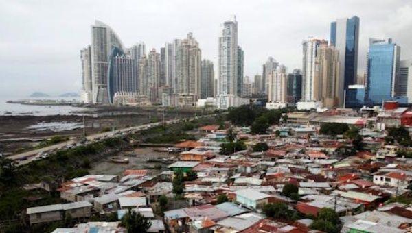 A general view of the low-income neighborhood known as Boca la Caja next to the business district in Panama City Sept. 17, 2013.