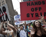Demonstrators protest against proposed U.S. military action against Syria in Times Square in New York in 2013.
