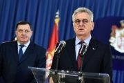Serbian President Tomislav Nikolic (right) addresses a press conference in Belgrade, on Feb. 3, 2014.