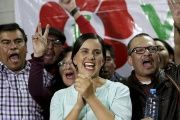 Peru's presidential candidate Veronika Mendoza talks to supporters at her campaign headquarters after the election in Cuzco, April 10, 2016.